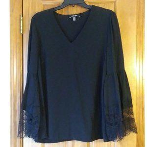 Nine West Medium Boho Lace Bell Sleeve Black